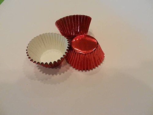 Standard Truffle Box (48 Mini Red Foil Cupcake Liners Baking Cups Truffle Candy Greaseproof Foil Liners Baking)