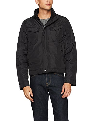 William Rast Men's Micro Tech Bomber Jacket, Black, - William Black