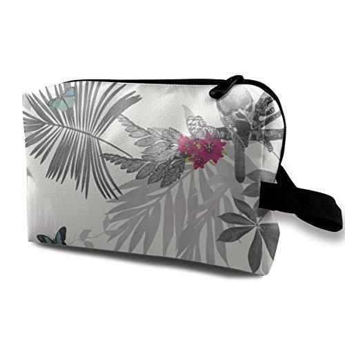 Makeup Bag Portable Floral Leaf Pattern Bird Butterfly Storage Bag for Women Travel