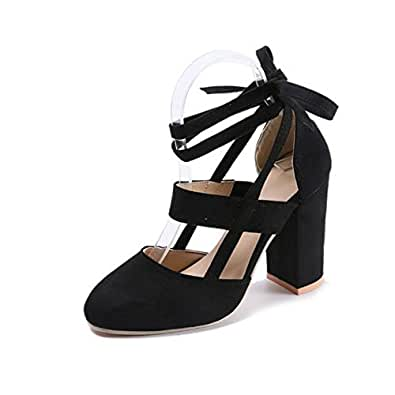 6300484cc9 Womens Chunky Block Heeled Sandal Ankle Strappy Closed Toe Pumps Lace Up  High Heels (5.5