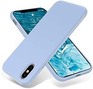 غطاء حماية لجهاز ايفون اكس اس ماكس من جل السيليكون السائل بحماية كاملة ومقاومة للخدوش والصدمات، (لون ازرق فاتح)