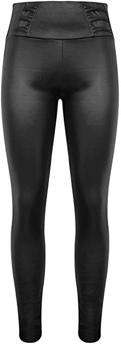 5412025f5da98 Damen Thermo Leggings Lederoptik Traggings Hose