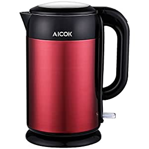 Aicok Electric Kettle, Double Wall Stainless Steel, Fast and Safe Tea kettle, Cool Touch, Auto Shut Off, BPA Free, Cordless, 1.7 Liter, 1500 Watts, Red