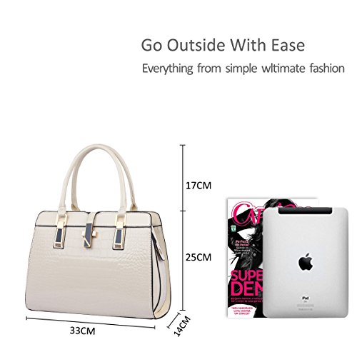 Messenger white amp;Doris women for fashion Nicole new patent shell ladies shoulder handbags bag Creamy leather portable vgpF4Uqwx