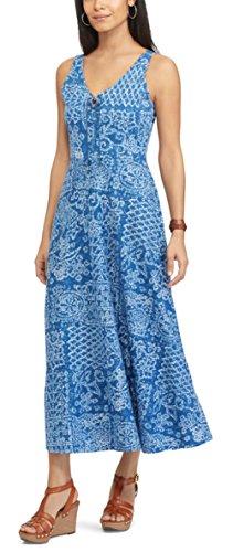Chaps Women;s Petite Seashell Maxi Dress, Blue Multi (Petite (Chaps Womens Dress)
