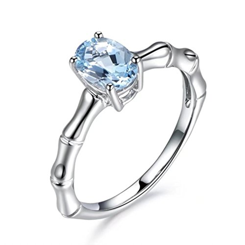 Women's 18K White Gold Plated Bamboo Bones Solitaire Rings Created 2CT Aquamarine Birthstone Best Promise Rings For Her Anniversary Wedding Bands Size 9