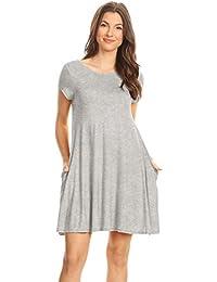 Casual T Shirt Dress Women Flowy Tunic Dress Pockets Reg...