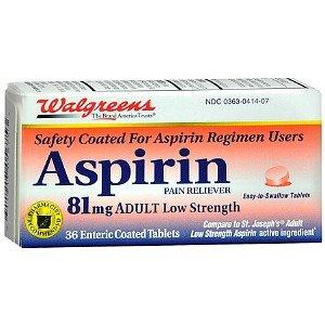 Amazon com: Walgreens Aspirin 81 mg Low Dose Tablets, 36 ea