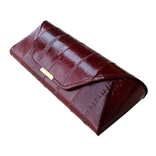 Rainbow Women's Genuine Eel Skin Leather Eyeglasses Case (Wine)