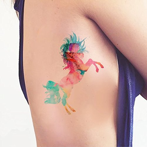Unicorn watercolor - Temporary tattoo