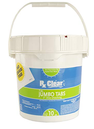 Rx Clear 3-Inch Water Soluble Chlorine Tabs | 10 Pound Bucket | Use As Bactericide, Algaecide Disinfectant in Swimming Pools Spas | No Need to Take Out of Wrapper (Best Price On Chlorine Tablets)