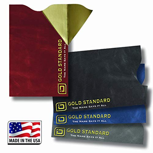 RFID Secure Sleeves 4 Pack Leatherlook Collection - RFID Blocking Gold Standard Sleeves - Made in the USA (Rawhide)