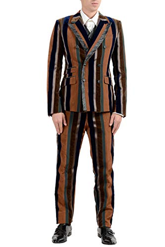 Dolce & Gabbana Men's Striped Velour Silk Three Piece Suit US 38 IT 48 ()
