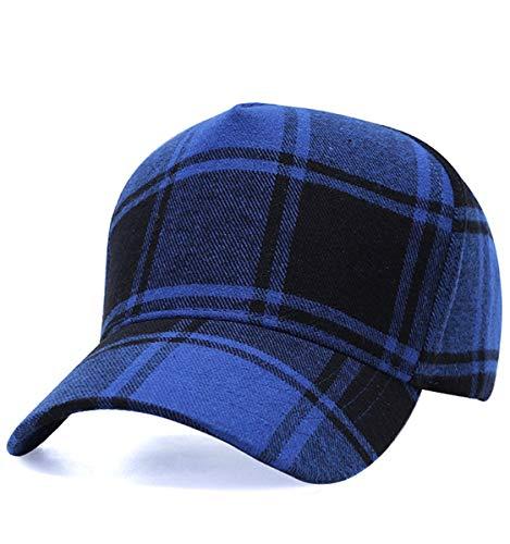 Plaid Print Baseball Cap Soft Cotton Blend Checked Print Outdoor Hat Cap, Black Blue