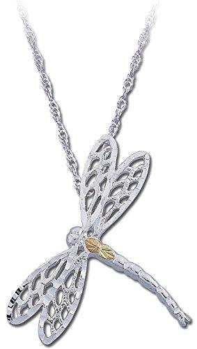 Black Hills Gold on Silver Dragonfly Pendant, 12k Gold Leaves