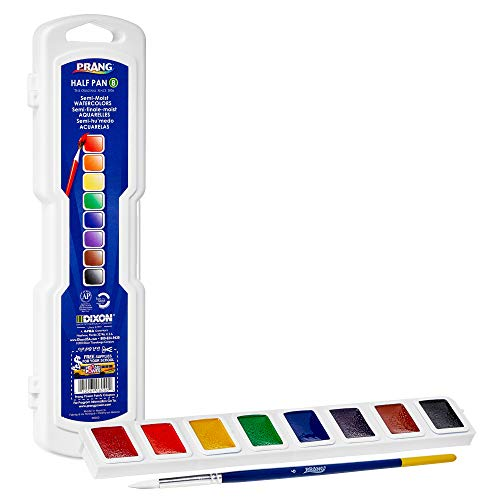(PRANG Half Pan Watercolor Paint Set with Brush and Lid, 8 Assorted Colors (08000))