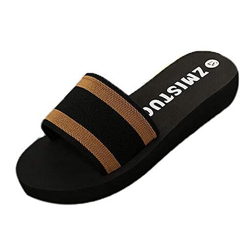 Meigeanfang Womens Slippers Summer Casual Platform Bath Wedge Beach Thick Bottom Flip Flops(Brown,40)