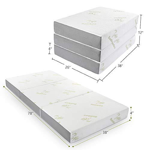 Folding Mattress, Inofia Memory Foam Tri-fold Mattress with Ultra Soft Removable Bamboo Cover Washable, Non-Slip Bottom & Breathable Mesh Sides - Twin 4-Inch