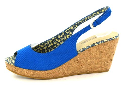 Spot On Ladies Mid Wedge Heeled Sandal Blue 8oLZ4