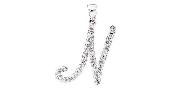 10k Or Blanc pour femme ronde diamant Cursive Lettre J Pendentif 1//6 cttw