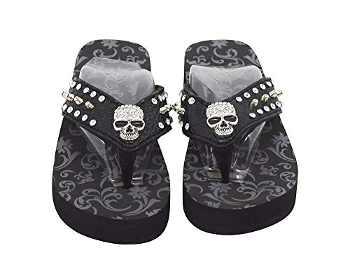 (Skelapparel Western Gothic Punk Rock Skull Metal Bling Studded Black Flip Flops (8))