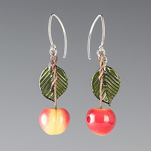 (Glass Yellow Cherry Earrings with Dark Green Glass Leaves on Sterling Silver Marquise Wires)