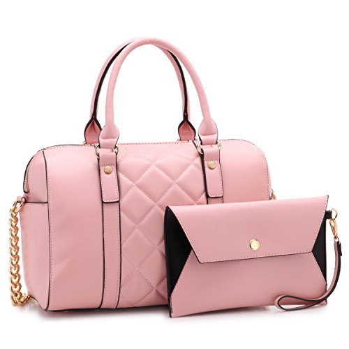 Hobo Quilted Handbags Bags - Dasein Women Soft Vegan Leather Barrel Bags Large Top Handle Totes Satchel Handbags Shoulder Purse W/Wallet Pink