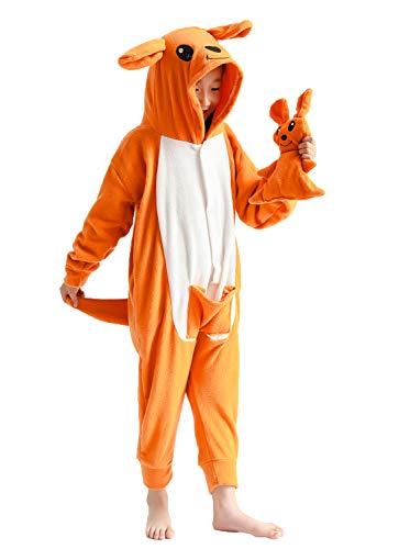 Unisex Kids Onesie Kangaroo Pajamas Onesie Luxury Fleece with Pocket One-Piece Cosplay Costume for Children Halloween]()