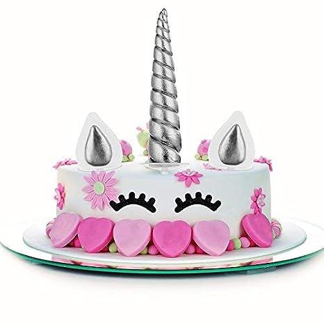 Decoración de unicornio para tartas de cumpleañosJuego decorativo que incluye cuerno, orejas y pestañas de