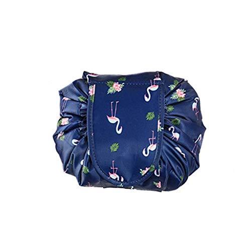 Kasmena Makeup Bag Lazy Makeup Organizer,Portable Drawstring Cosmetic Bag Large Capacity Travel Makeup Pouch Magic Bag for Womens Girls,Navy