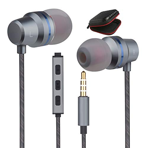 Earbuds Ear Buds Wired Headphones Microphone in Ear Earphones Stereo Mic Ear Buds Volume Control Music Headsets Compatible Android Smart Phones iPhone iPad Samsung Noise Cancelling 3.5mm Devices