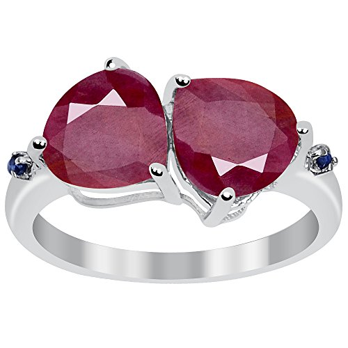 Orchid Jewelry 925 Sterling Silver Dual Heart Shaped Natural Ruby and Sapphire Ring for Women, July Birthstone, Perfect for Mother Day, Birthday (1.65 Cttw, 8x8 MM)
