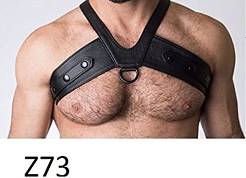 Mens Classic Leather Chest Harness Sexy Gay Interest Bondage Club wear Adjustable Gemini Seller Z73 (Harness Gay)