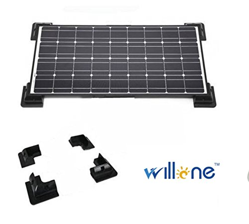 Willone WL-ABS-CM-B 10 KITS Solar Panel Universal 4-corner Drill-free Glue Mounting Brackets for Rv, Marine and Flat Roof Installations - Black by Willone