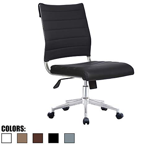 (2xhome Modern Ergonomic Executive Mid Back PU Leather No Arms Rest Tilt Adjustable Height Wheels Cushion Lumbar Support Swivel Office Chair Conference Room Home Task Desk Armless (Black))
