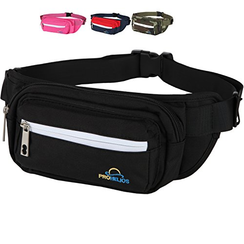 Pro Helios Premium Fanny Pack for Men & Women Water Resistant Waist Bag for Outdoor Activities, Traveling, Hiking, Biking, Running | Durable Zippered Pockets for iPhone & Accessories (Black)