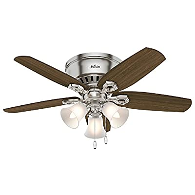 """Hunter 51092 42"""" Builder Low Profile Ceiling Fan with Light, Brushed Nickel"""