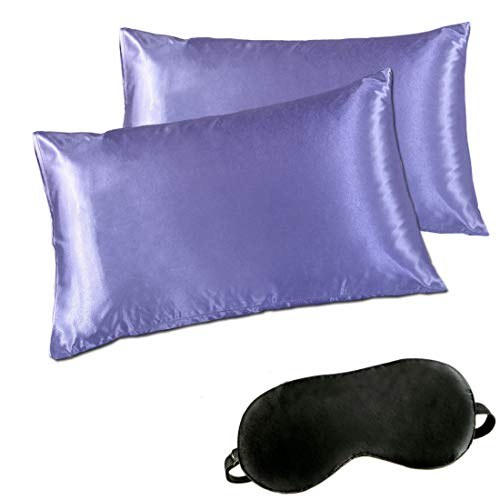 Minda Satin Pillowcases Set Hair Skin, Standard Queen King Size Silk Pillowcase Prevents Sleep Wrinkles,No Zipper Pillow Silk Pillowcase Easy to WASH, Gift-Eye Mask(Purple, Queen)