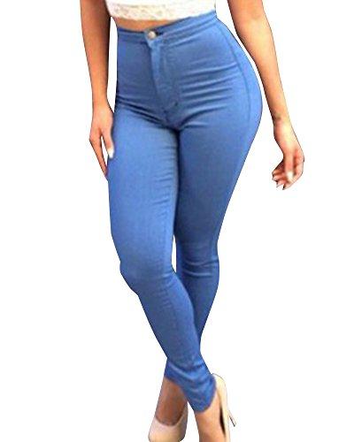 ZhuiKun Femme Skinny Denim Jeans Slim Taille Haute Leggings Crayon Pantalons Bleu