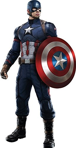 10 Inch Captain America Shield Civil War Team Cap Marvel Avengers Comics Removable Wall Decal Sticker Art Home Decor Kids Room Boys Decoration 5 1/2 x 10 1/2 inches -