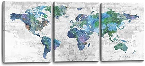 Wall Art for Living Room World Map Prints Pictures Framed Canvas Artwork Wall Decor for Bedroom Office Kitchen Modern Home Decorations Size 12×16 inch x 3 Panel Ready to Hang World Map Decorations