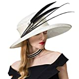 Women Fascinators Sinamay Kentucky Derby Hats for Elegant Women Big Large Brim Linen Hat with Feather White