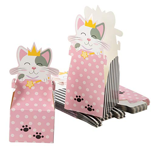 Cat Party Favor Boxes - 24-Pack Paper Treat Boxes with Die-Cut Princess Kitty, Cute Cat Themed Gable Boxes, Goodie Gift Loot Boxes, Girls Birthday Party Supplies, 3.5 x 3.5 x 8 Inches]()