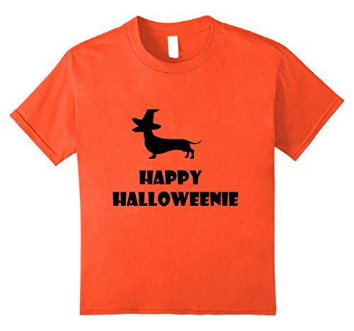 Kids Happy Halloweenie T-Shirt Dachshund Halloween Weiner Dog Tee 8 (Halloween Weiner Costume)