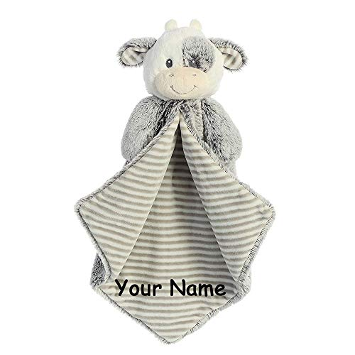 Ebba Personalized Cuddler Coby Cow Striped Luvster Plush Blanket for Baby Boy or Baby Girl with Custom Name - 16 Inches ()