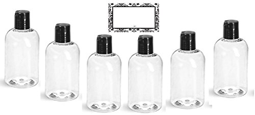 BAIRE BOTTLES - 4 oz CLEAR PLASTIC REFILLABLE BOTTLES with BLACK HAND-PRESS FLIP DISC CAPS - For TRAVEL OR GIFTING Soap, Shampoo or Lotion - PET, BPA Free, Lightweight, 6 Pack, BONUS 6 DAMASK LABELS