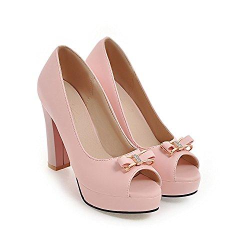 QIN&X Damen and Chunky Heel Sandalen Flip Flop, Pink, 36