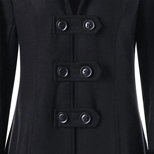 largo abrigo de grueso capucha largo breasted delgada lana Negro de invierno Chaqueta chaqueta con Dama mujer el piel de doble de parka esculpir correas Internert Abrigo cuerpo collar Abrigo zSqF7cAE7
