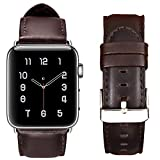 for Apple Watch Band 42MM,RUOQINI Retro Genuine Leather Strap Replacement Band for Apple Watch Series 3/2 / 1 (Coffee)