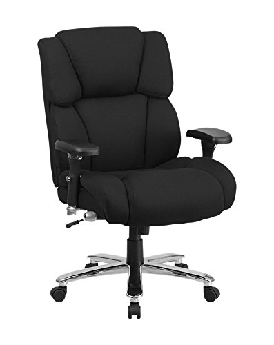 Offex Big and Tall Fabric Executive Swivel Chair with Lumbar Support Knob – Black